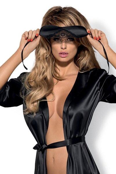 OBSESSIVE Erotická maska Satinia mask barva černá, velikost Univerzální